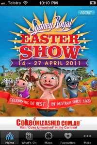 Easter Show iPhone app home page